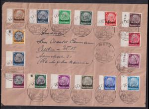 Dt. Besetzung 2. Weltkrieg, Lothringen, Mi.-Nr. 1-16 auf Satz-Brief.
