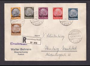 Dt. Besetzung 2. Weltkrieg, Luxemburg, Mi.-Nr. 1-16 auf 3 R-Satz-Brief.