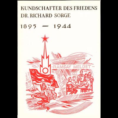 DDR - Gedenkblatt, DR. Richard Sorge 1895 - 1944, A2- 1976 a