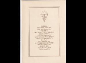 DDR - Gedenkblatt, die internationale Wiederstandsbewegung