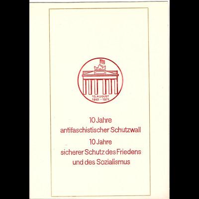 DDR - Gedenkblatt, 10 Jahre antifaschistischer Schutzwall