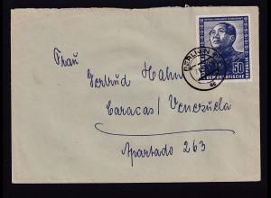 DDR - Auslandbrief nach Venezuela mit EF.Mi.-Nr. 288, sign. SchönherrBPP: