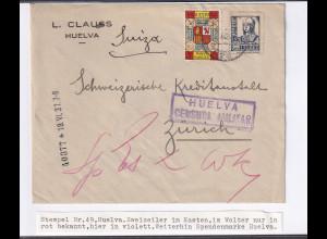 Spanien, Zensurbrief, nach Zürich