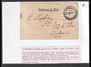 Südafrika, Zensurbrief nach Pretoria 1919, KGF-sendung.