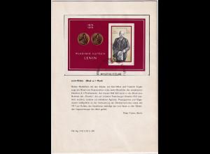 DDR -Gedenktblatt, 100. Geburtstag von Lenin 1970