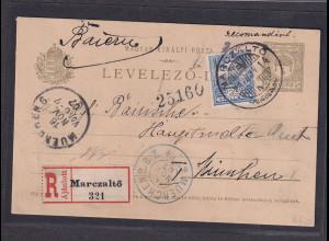 Ungarn, R-Ausland-Karte nach München mit AK-St.