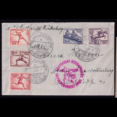 Zeppelin-Brief, Olympiafahrt Si. 427 Ba, mit DR Olympiade.Marken.
