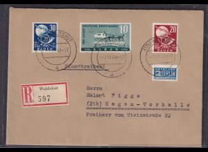 Fr.-Zone, Baden Mi.-Nr. 54, 56-57 auf R-Fernbrief mit AK-St.