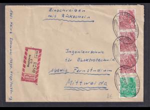 DDR, R-Fernbrief mit BP-St. Leipzig-Karl-Marx-Stadt,