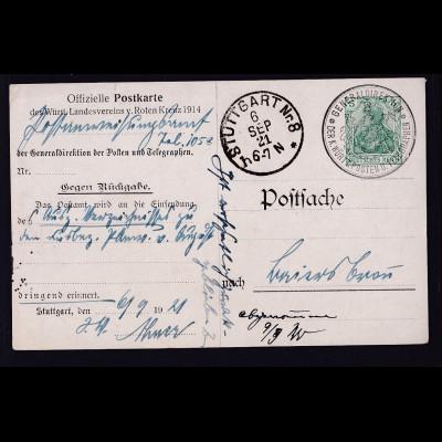 DR.,Off. Postkarte des Württ.Landesvereins v. Roten Kruez 1914 gebraucht.