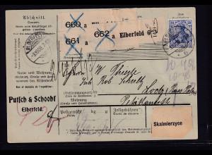 DR. Paketkarte von Elbefeld, mit Mi.-Nr. 87 I+2x 82, 3 x 41 y K, FA. Hovest
