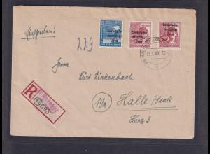 SBZ., Mi-Nr. 192 c, 195 a, auf R-Fernbrief, FA. Ruscher.