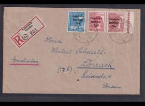 SBZ., Mi-Nr. 195 b, 189 a und 192 a, auf R-Fernbrief, FA. Paul.
