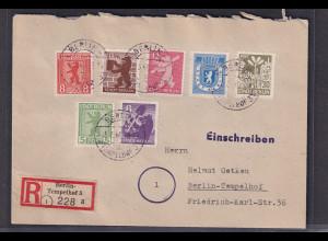SBZ, Berlin und Brandenburg., Mi.-Nr. 1-7B, auf R-Ortsbrief, FA. Dr. JaschBPP.