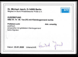 SBZ., Mi.-Nr. BIock. 1xa (IV), postfrisch, KB. Dr. JaschBPP.