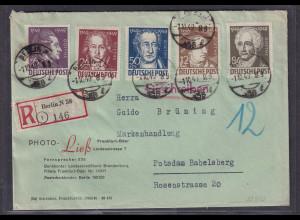 SBZ.Geburtstag von Goethe, Mi.-Nr. 234-238 als R-Satz-Fernbrief mit Ak-St.