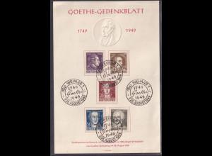 SBZ., Gedenkblatt Geburtstag von Goethe, Mi.-Nr. 234-238
