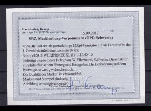 SBZ.,Mecklenburg-Vorpommern, Mi-Nr. 8 y und 8x, auf Brief, Befund, Kramp.