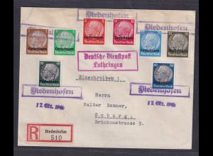 Dt. Besetzung 2. Weltkrieg, Lothringen, Mi.-Nr. ex, 1-16 auf R-Brief.