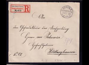 DR., R-Fernbrief von Kabinets-Postamt, Berlin,