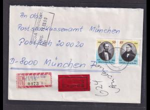 DDR. R-Eilbotebrief mit MiF. 3256-3257
