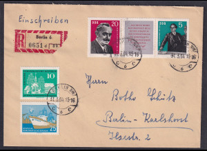 DDR. R-Brief mit Mi.F, Mi.-Nr 893-894 u.a.