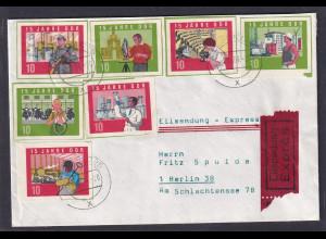 DDR. Eilbote-Ortsbrief (als Röhrpost befördert) mit Marken aus Block 19