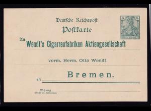"""DR. 5 Pfg. Ganzsache Reichpost mit Zudruck """"Wendt`s Cigarren..., ungebraucht."""