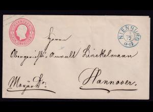 AD. Hannover-Ganzsache von Nienburg nach Hannover gelaufen.