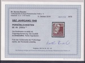 SBZ- 1948, Mi.-Nr.219 b, postfrisch, Befund. RuscherBPP