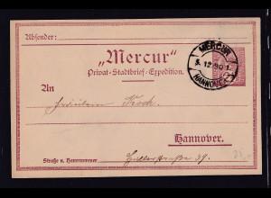Privatpost, Mercur Hannover 1890, Ganzsache 2,5 Pf., gestempelt