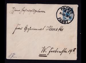 Privatpost, Packet-Fahrt Berlin 1888, Ganzsache 3 Pf Hellblau, gestempelt
