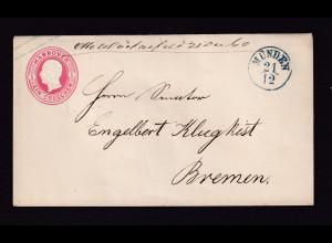 AD.Hannover-Ganzsache von Münden nach Bremen gelaufen, sign. C.H. Lange