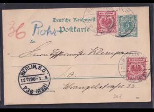 DR. Rohrpost Ganzsache-Karte Berlin 1890, gelaufen