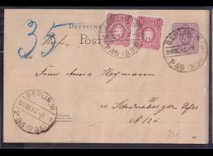DR. Rohrpost Ganzsache-Karte Berlin 1887 gelaufen