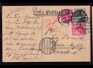 DR. Rohrpost Ganzsache-Karte Berlin 1914 gelaufen