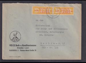 DDR., Dienst-brief mit Me.F. Mi.-Nr. 16 M