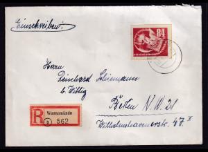 DDR., R-Fernbrief mit EF. Mi.-Nr. 272, AK-St.