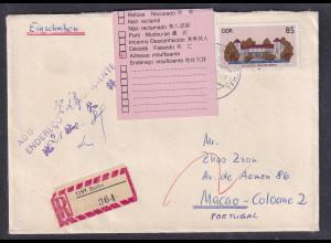 DDR., R-Ausland-Brief nach Macao mit EF. Mi.-Nr. 3034 und zurück.
