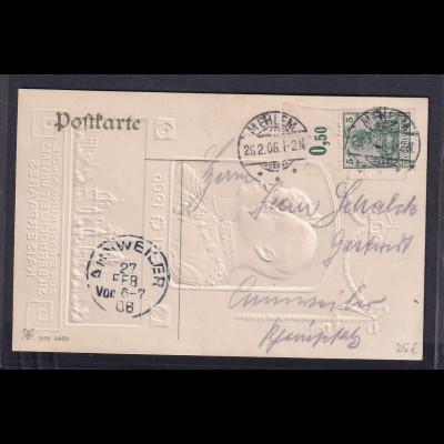 DR, Post-Karte zur Silberhochzeit des Kaiserpaaresmit Mi.-Nr. 85 I a OR.