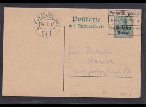 Dt. Besetzung 1. Weltkrieg Belgien, Ganzsache Mi.-Nr. P 8 gestempelt.