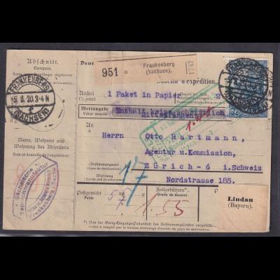 DR., Ausland-Paketkarte mit Me.F. Mi.-Nr.95 B II b, sign. Jäschke-L.