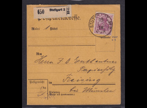 DR., Paketkarte mit EF. Mi.-Nr. 92 II a, sign. Jäschke-L.