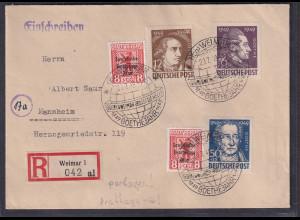 SBZ.Geburtstag von Goethe, ex.Mi.-Nr. 234-234 als R-FDC-Fernbrief mit Ak-St.