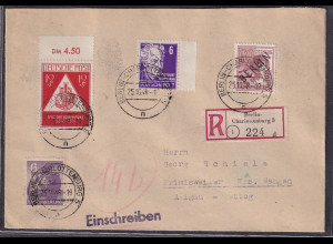 SBZ, Mi.-Nr, 228 als R-Fernbrief in Berlin verwendet, 6 Pfg. Köpfe Farb-Sign.