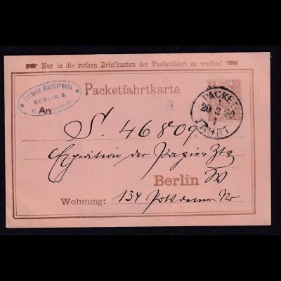 Privatpost, Packetfahrtkarte Berlin 1890 gelaufen.