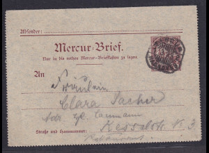 Privatpost, Mercur-Brief Hannover 1899, 3 Pfg. Braun, gelaufen.