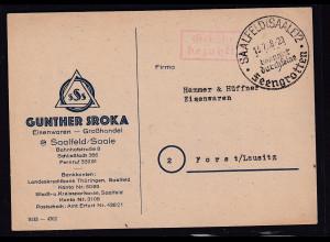 DR. Reklame-Karte, Eisenwaren - Großhandel, Günther Sroka, Saalfeld/Saale