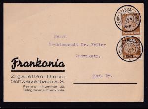 DR. Reklame-Karte, Zigaretten-Dienst, Frankonia, Schwarzenbach