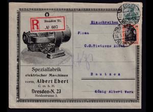 DR. Reklame-Brief, Spezialfabrik für elektr. Maschinen, Albert Ebert, Dresden.